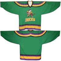 Wholesale Jerseys Customized  Mighty Ducks Movie Ice Hockey Jerseys Stitch Sewn Green  any size any name any number Mix order