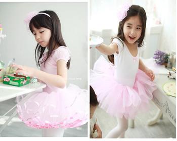 Торгово-freeshipping-новые девушки дети с коротким рукавом хлопок розовый белый купальник балетная пачка гимнастика скейт танец день рождения юбка 3-8Y
