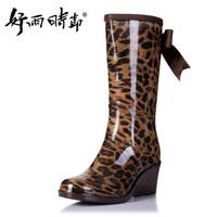 Women Rain Boots Wedge Heel High Ladies Rainboots Bow Leopard Rubber High Boots Free Shipping Women Boots Galocha Chuteira