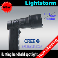 Free shipping! 10W CREE LED Gun Flashlight Torch Outdoor Outfitters Handheld Spotlight,800lumens 12v portable handheld spotlight