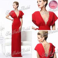 2014 Tarik Ediz Sexy New Deep V neck With Beaded Straight Floor length Chiffon Party Red Dress Evening Dresses Long