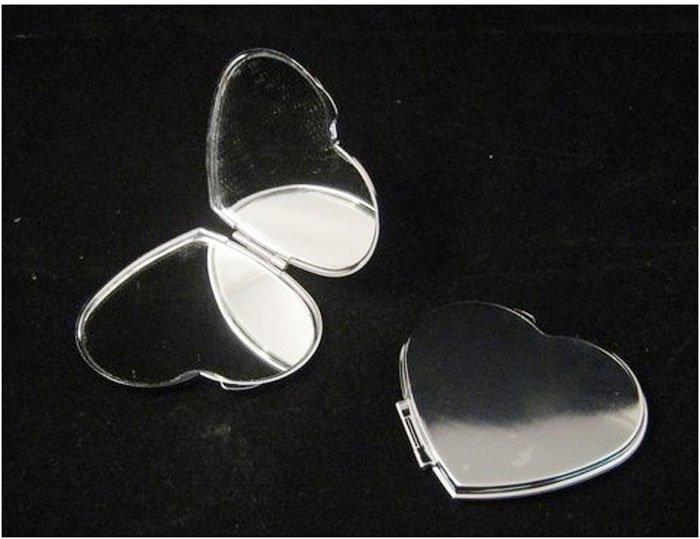 SILVER COMPACT MIRRORS BRIDESMAIDS WIFE GIRLFRIEND HEART SHAPED MAKEUP CASES 10PCS/LOT DROP SHIPPING(China (Mainland))