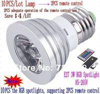 10pcs/lot E27 3W 4W RGB LED Light Bulb Lamp spotlight 85-265V  (10PCS 3W RGB LED lamp supporting 2PCS remote control)