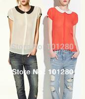 Free shipping new 2014 chiffon shirt women's summer blouses shirt fashion casual shirt peter pan collar tops  T005