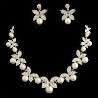 faux pearl Jewelry set  rhinestones NJ-575 clear white 925 silver bridal Jewelry Valentine's day gift Rihood