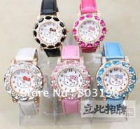 Free shipping 3PCS/Lot Hello Kitty Women's Gift wrist watches Fashion quartz  Watches 431 Black/Pink/Rose Red/Blue/White