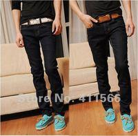 Fashion Mens Pants Slim fit long Jeans denim stretch wear jeans Four Seasons black/Dark blue Asian size 28-36 Free shipping K050