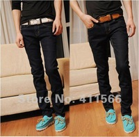 Fashion Mens Pants Slim fit long Jeans denim stretch wear jeans Four Seasons black/Dark blue Asian size 28-36 Free shipping K050