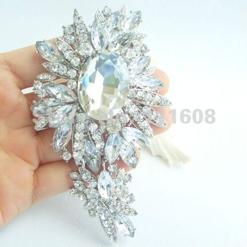 "4.33"" Bridal Costume Jewelry Bouquet Wedding Bridal Rhinestone Crystal Flower Brooch Pin Bridesmaid Jewelry EE04825C1"