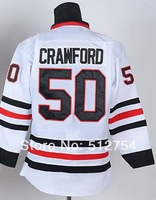 #50 Corey Crawford Jersey,Ice Hockey Jersey,Best quality,Embroidery logos,Authentic Jersey,Size M--XXXL,Accept Mix Order