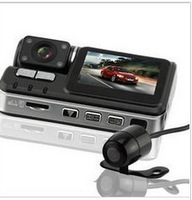 Free Shipping!!Dual Lens H.264 MOV HD 720P Car Camera Video Recorder DVR G-sensor Back-up Cam