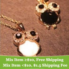 Fashion Lovely Crystsal Rhinestone Owl Necklace Jewelry wholesale(Black\White)! !--cRYSTAL sHOP