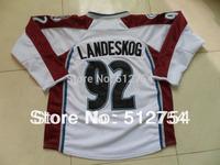 #92 Gabriel Landeskog Jersey,Ice Hockey Jersey,Best quality,Embroidery logos,Authentic Jersey,Size M--XXXL,Accept Mix Order