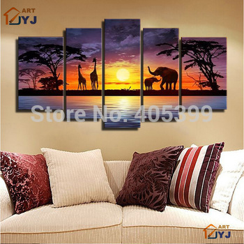 Beautiful Night Landscape Elephant Real Handmade Canvas Painting Wall Art ,Abstract Modern Landscape Oil Painting JYJLV242
