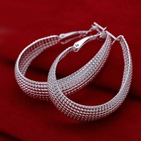 Hot Sale!!Free Shipping 925 Silver Earring,Fashion Sterling Silver Jewelry Flat U web Earrings SMTE064