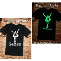 Wholesale Men's short sleeve shirts,Men's t-shirt.Michael Jackson t-shirt,100%cotton.Accept .MoonWalk .luminous shirt
