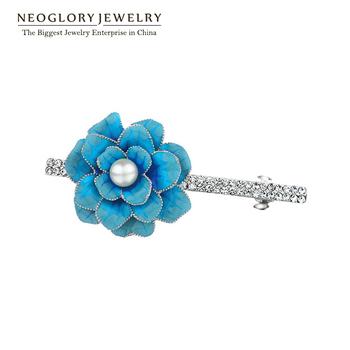 Neoglory  Blue pearl Flower Barrettes Hair Pin Hair Accessories Wedding Rhinestone Hair Clip