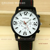 Q0323 - MINGEN SHOP - Black Silicone Men Outdoor Sport Wrist Watch Fashion Men's Watch Quartz watch White Dial