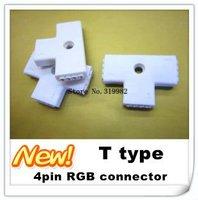 Free shipping/ LED RGB strip connector, RGB 4pin 10mm T shape connector, RGB T connector 90 degrees for 5050 strip, 20pcs/lot