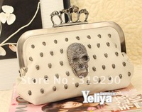 Free Shippping Ladies' Skull Clutch Knuckle Rings Handbag Four Fingers Evening Bag with Shoulder Chain