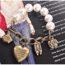 Fashion Imitated Pearl Bracelet With High Heels, Perfume, Rose,Heart Vintage Bracelet Jewelry Bangle 15PCS/LOT Free Shipping4270(China (Mainland))