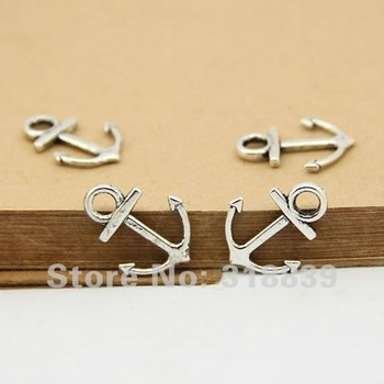 Wholesale 80pcs/lot 15*19mm  Antique Silver Metal Alloy Nautical Anchor Charms Jewelry Anchor Pendants 2686