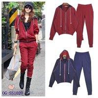 free shipping Korean style 2013 cotton autumn/winter dolman sleeve women casual sports suits/sportswear 2pcs set 2color 6sizes
