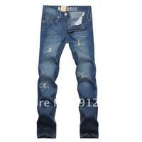 New Hot Men's Jeans Slim Fit Straight Trousers Zipper Style Blue M-301 Free Shipping