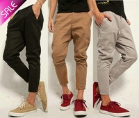 NEW Men's Casual Punk Slim Skinny Cropped Capri Tapered Harem Pants Jeans Trousers Free Shipping