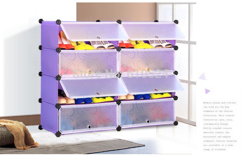 Six Case combination receive shoe ark Dustproof shoe rack fold combination DIY multi-layer creativity