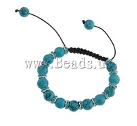Free Shipping Turquoise Shamballa Bracelet,  with rhinestone spacer Sold per 7 Inch- Strand