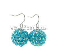 Free Shipping Fashion Resin Earring, iron hook & resin rhinestone ball drop, Round shape, blue color, 16x30mm, Sold by Bag