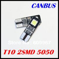 Free Shipping 10pcs/lot Car ERROR FREE CANBUS W5W T10 2LED 5050 BULB LIGHT NO OBC ERROR White