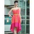 FREE SHIPPING  BaBassu Newly Fashion Spaghetti Strap Color Block Ladies' Casual/Beach/Party Asymmetrical Chiffon Dress