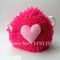 Free Shipping---Stylish Hand Made Knitted Fleece heart Tea Cosy
