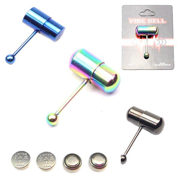 anodized titanium vibrating tongue rings piercing