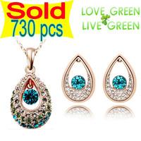 2014 fashion brand 18K Gold plated Czech Rhinestone Angel Tearl Austrian Crystal jewelry sets Necklace Earrings set 20283