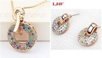 Rose Gold Plating Multicolored Crystal Round Shape Earrings Pendant Necklace Jewelry Sets  Make With Swarovski Elements