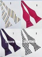 Wholesale Faux silk self tie bowtie men calabash striped bow tie freestyle bow tie marina neckwear Free Shipping 200pcs. #0822B