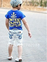 Free shipping 5pcs Children's casual shorts Boys/girls shorts with letter pattern Color: White Pink Size: 90-130
