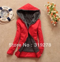 2013 women's hooded thickening fleece fashion sweatshirt plus velvet long-sleeve cardigan female sweatshirt Ladies outwear red