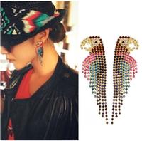 2014 Hot Selling !! Euro-America Luxury Full Color Rhinestone Crystal  Parrot  Bird Stud Earrings Ear Accessories