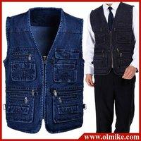 Free Shipping 80% OFF SALE MEN'S Autunm casual Cotton Denim Vest coat for men jacket Multi Pocket Mens vest Blue XL- 5XL MTS151