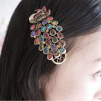 Min.order is $5 (mix order)free shipping Retro Korean Fashion Rhinestone Peacock hairpins Hairband Hair Clip Headband (H036)
