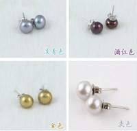 8 COLOR!!! 925 Silver 7-8MM Exquisite Genuine Natural Freshwater Pearl Stud Earrings Jewelry Hot Cheap Sale for Young Women