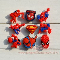 Hot sale !!!  100pcs/lot  fashion Spider Man  PVC shoe charms   best gift for kid