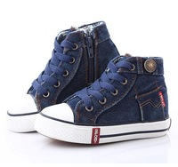 Promotion High Top children Canvas shoes for boys/girls size 25-37 kids' sneakers shoes jeans boys girls brand shoes for kids
