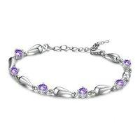 High Quality!! 2014 New Arrival Purple Crystal Bracelets Water Drop Bracelets 10pcs/lot Free Shipping