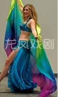 BELLY DANCE  chiffon VEILS sari 100% SILK  hand-dyed gentle transition of color mix green