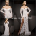 LD-564 Sexy See Through Long Sleeves Lace Off the Shoulder Prom Dresses Free Shipping